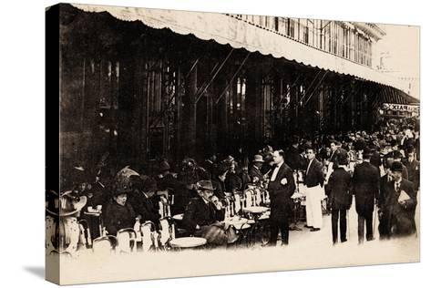 Cafe of Les Grands Boulevards, Paris, 1910--Stretched Canvas Print