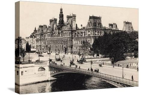 Hôtel De Ville and the Pont D'Arcole, 1900--Stretched Canvas Print