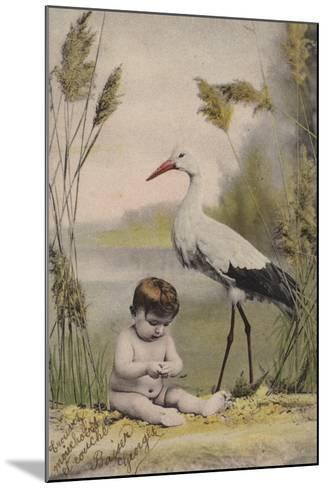 Baby with Stork--Mounted Giclee Print