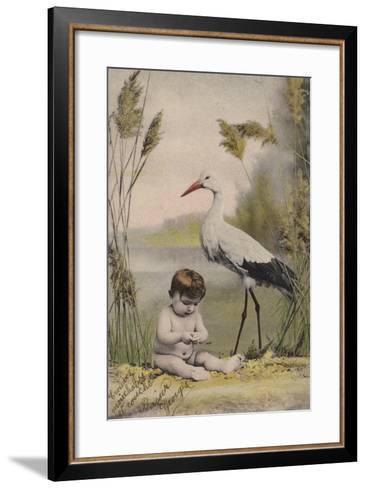 Baby with Stork--Framed Art Print