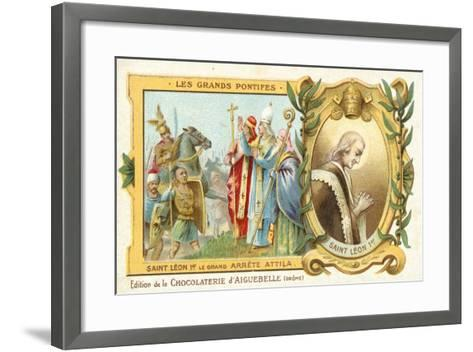 St Leo the Great Stops Attila the Hun's Conquest of Italy, 452--Framed Art Print