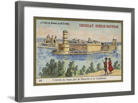 Entrance to the Old Port of Marseilles and the Cathedral--Framed Art Print