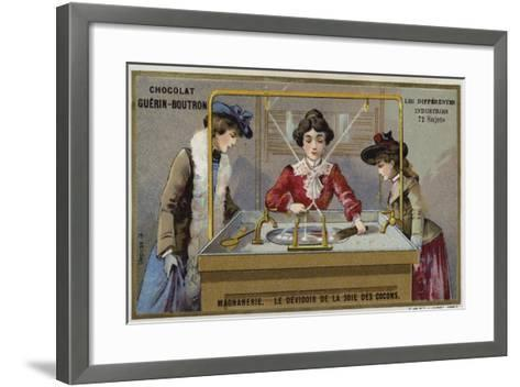 Silk Manufacturing. Spinning the Fibres onto a Reel--Framed Art Print