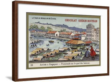 Arrival at Singapore - a Walk Along the Quay--Framed Art Print