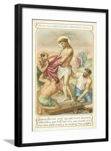 Exhausted, Jesus Prepares to Be Nailed to the Cross--Framed Art Print
