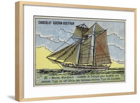 Paimpol Schooner, Breton Cod Fishing Boat, 19th Century--Framed Art Print