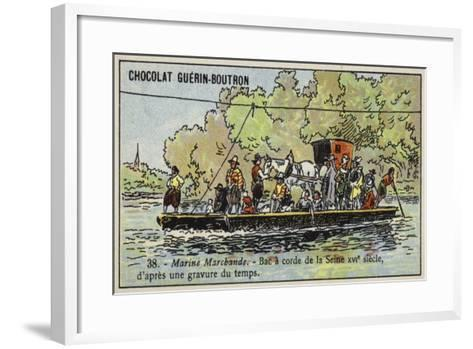 Rope Ferry across the River Seine, France, 16th Century--Framed Art Print