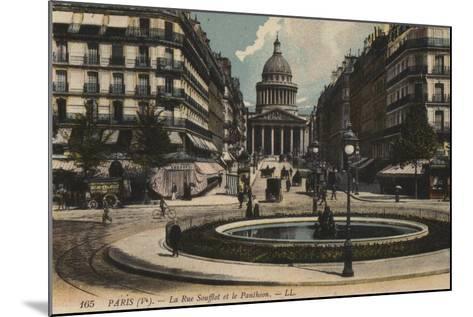 Paris, La Rue Soufflot, Le Pantheon--Mounted Giclee Print