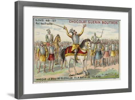 Clovis I Invoking the God of Clotilde at the Battle of Tolbiac, 496--Framed Art Print