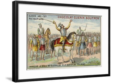 Clovis I Invoking the God of Clotilde at the Battle of Tolbiac, 496--Framed Art Print