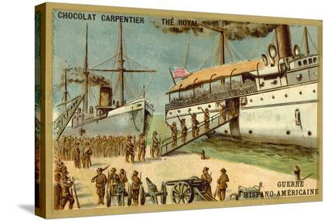 American Troops Boarding a Ship, Spanish-American War, 1898--Stretched Canvas Print