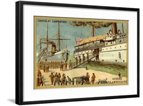 American Troops Boarding a Ship, Spanish-American War, 1898--Framed Art Print