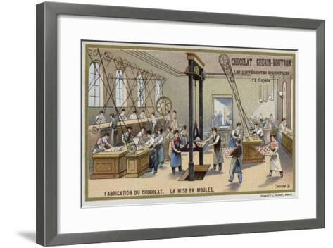 Chocolate Manufacturing. Putting Chocolate into Moulds--Framed Art Print