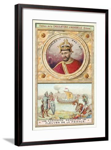 Charles Ii, and the Normans Sailing Up the Rivers of France--Framed Art Print