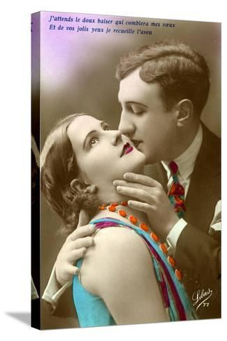 French Couple Kissing, C.1920--Stretched Canvas Print