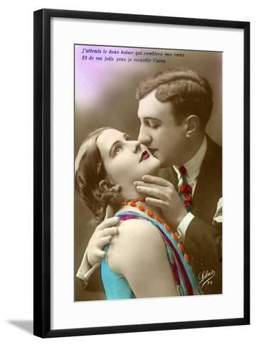 French Couple Kissing, C.1920--Framed Art Print