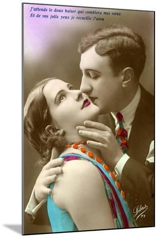 French Couple Kissing, C.1920--Mounted Giclee Print