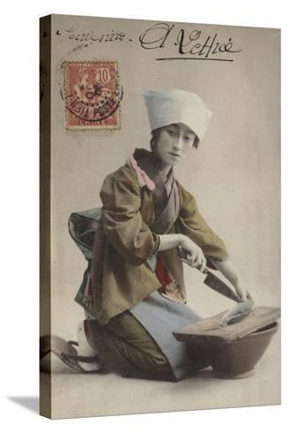Japanese Girl Filleting Fish--Stretched Canvas Print