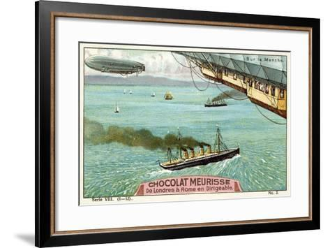Flying Above the English Channel--Framed Art Print