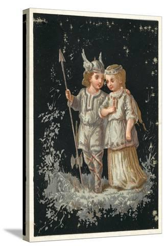 Girl and Boy in Norse or Germanic Costume--Stretched Canvas Print