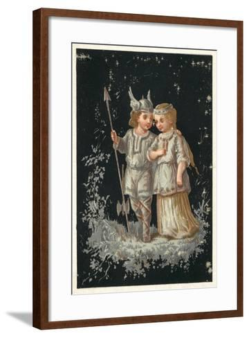 Girl and Boy in Norse or Germanic Costume--Framed Art Print