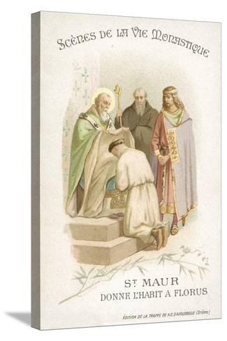 St Maurus Gives Florus His Habit--Stretched Canvas Print