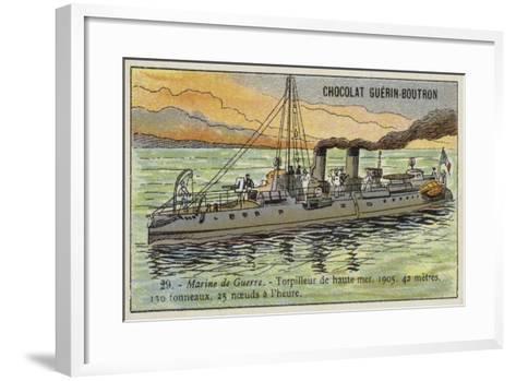 French Torpedo Boat, 1905--Framed Art Print