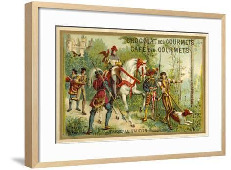 Hunting with Falcons, Compiegne, France--Framed Art Print