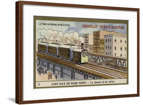 A New York Street - Elevated Railway--Framed Art Print