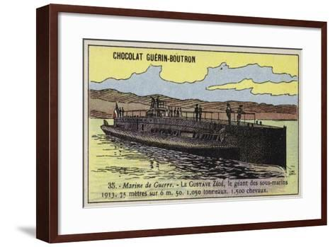French Submarine Gustave Zede, 1913--Framed Art Print