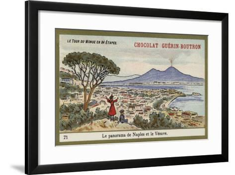 Panorama of Naples and Vesuvius--Framed Art Print
