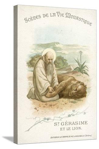 St Gerasimus and the Lion--Stretched Canvas Print