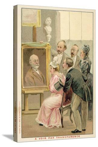 Group of People Studying a Painting--Stretched Canvas Print