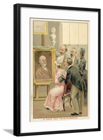 Group of People Studying a Painting--Framed Art Print