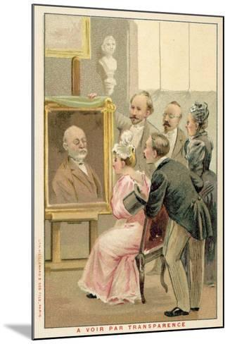 Group of People Studying a Painting--Mounted Giclee Print