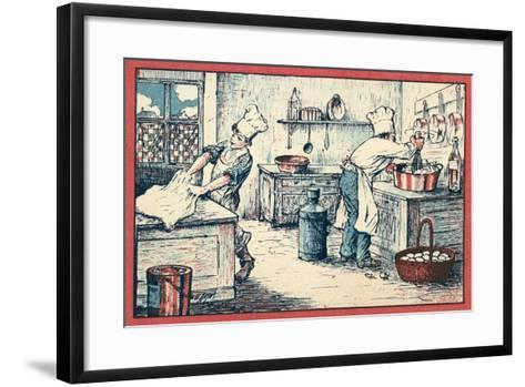 Cooks Working in a Kitchen--Framed Art Print