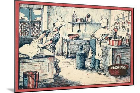Cooks Working in a Kitchen--Mounted Giclee Print
