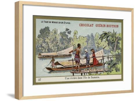 A River on the Island of Sumatra--Framed Art Print