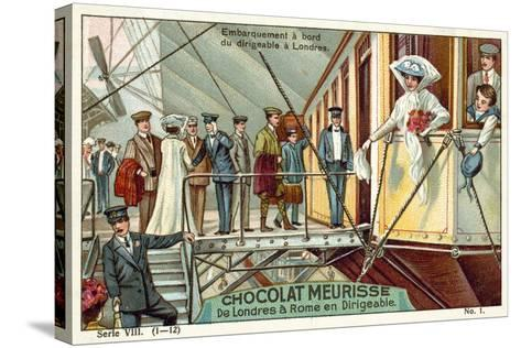 Boarding the Airship in London--Stretched Canvas Print