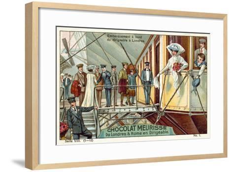 Boarding the Airship in London--Framed Art Print