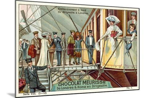 Boarding the Airship in London--Mounted Giclee Print