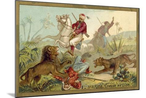 Hunting Lion in Africa--Mounted Giclee Print