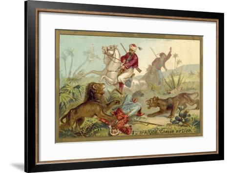 Hunting Lion in Africa--Framed Art Print