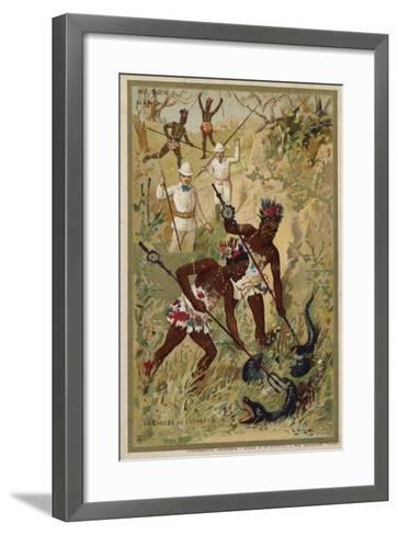 Hunting a Black Snake--Framed Art Print