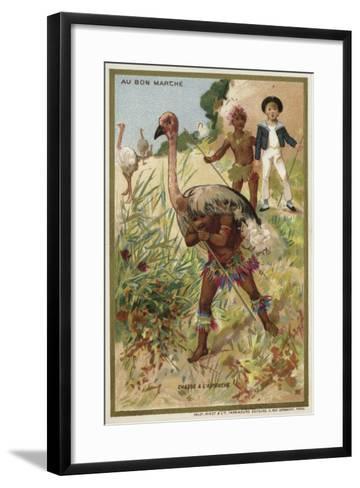 Hunting Ostrich--Framed Art Print