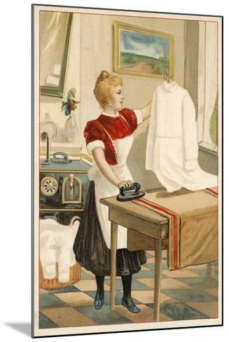 Woman Ironing--Mounted Giclee Print