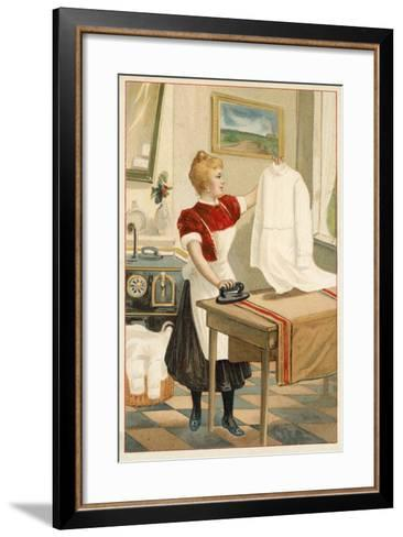 Woman Ironing--Framed Art Print
