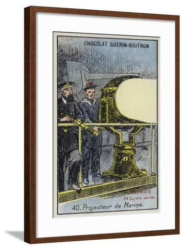Naval Searchlight--Framed Art Print
