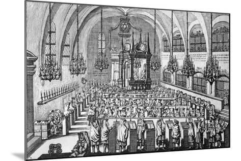 The Gathering in the Synagogue, 1705--Mounted Giclee Print