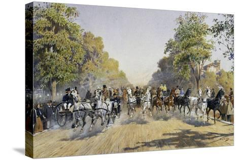 Carriage Race in Prater in Vienna, Watercolour, Austria, 19th Century--Stretched Canvas Print